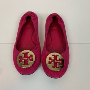 Tory Burch Reva Pink Suede Flats